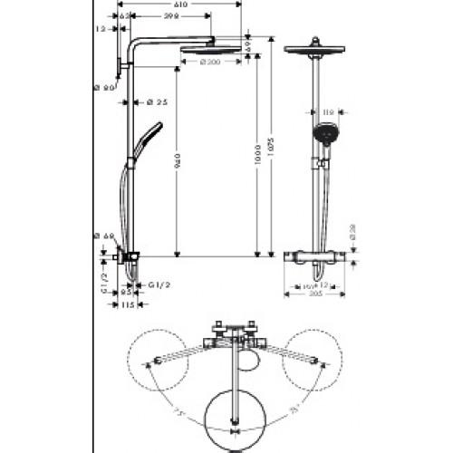 hansgrohe raindance select 300 2jet showerpipe 27133400. Black Bedroom Furniture Sets. Home Design Ideas