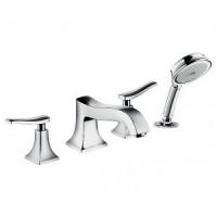 Смеситель для ванны на 4 отверстия Hansgrohe Metris Classic 31314000+13244180