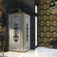 Душевая дверь распашная 100х195 Huppe Enjoy Victorian EV0202.007.344 матовое золото с декором