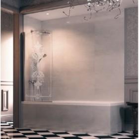 Шторка для ванны 75см Huppe Design Victorian DV1401.092.344 FrozenGrace/хром