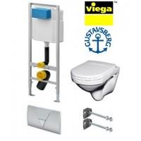 Готовое решение : Унитаз подвесной Gustavsberg Nordic 2330 с сиденьем инсталляция Viega 673192 с кнопкой