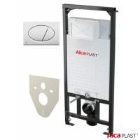 Монтажная рама для подвесного унитаза 4 в 1 Alcaplast AM101/1200 SET с кнопкой хром глянец