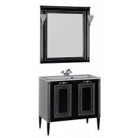 Мебель для ванной Aquanet Паола 90 черный/серебро (литьевой мрамор) 00182134