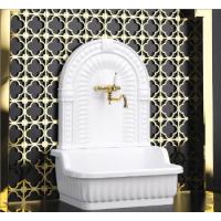 Раковина напольная с декоративной пристенной панелью 84x53.5xH111 см. ML.OLV-45.100.BI Стеклокомпозит белый