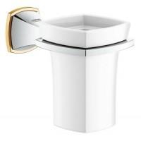 Держатель с керамическим стаканом Grohe Grandera 40626IG0, хром/золото