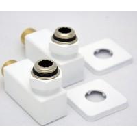 Комплект подключения Grota Квадрат для водяного полотенцесушителя белые