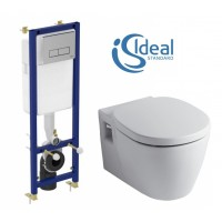 Унитаз с инсталяцией Ideal Standard Connect Set W880101 (W3710AA клавиша хром E803501 + E712701 SoftClose)