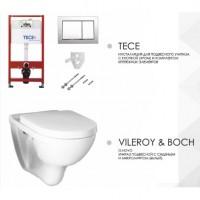 Комплект инсталяции Tece base 9.400.006 и унитаза безободковый Villeroy & Boch O.novo 5660HRR1