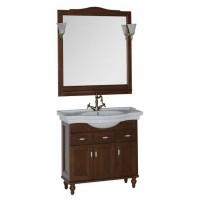 Комплект мебели (тумба с раковиной+зеркало со светильником) для ванной комнаты Aquanet Амелия 90 орех 00179305