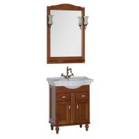 Комплект мебели (тумба с раковиной+зеркало со светильником) для ванной комнаты Aquanet Амелия 70 орех 00179309