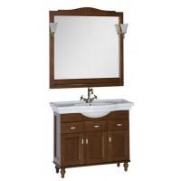 Комплект мебели (тумба с раковиной+зеркало со светильником) для ванной комнаты Aquanet Амелия 100 орех 00179460