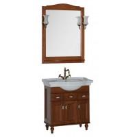 Комплект мебели (тумба с раковиной+зеркало со светильником) для ванной комнаты Aquanet Амелия 80 орех 00179464