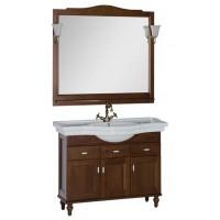 Комплект мебели (тумба с раковиной+зеркало со светильником) для ванной комнаты Aquanet Амелия 110 орех 00179574