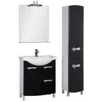 Комплект мебели (зеркало с подсветкой+тумба с раковиной) для ванной комнаты Aquanet Асти 75 черный 00178431