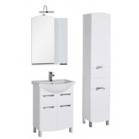 Комплект мебели (зеркало-шкаф с подсветкой+тумба с раковиной) для ванной комнаты Aquanet Асти 65 белый 00180319