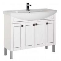 Тумба напольная с раковиной для ванной комнаты Aquanet Честер 105 белый/серебро 00182630