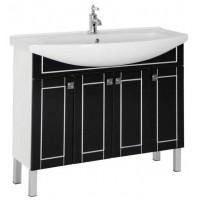 Тумба напольная с раковиной для ванной комнаты Aquanet Честер 105 черный/серебро 00186096