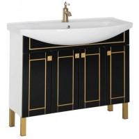 Тумба напольная с раковиной для ванной комнаты Aquanet Честер 105 черный/золото 00186098