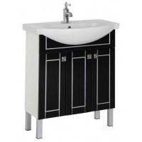 Тумба напольная с раковиной для ванной комнаты Aquanet Честер 75 черный/серебро 00186101