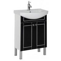 Тумба напольная с раковиной для ванной комнаты Aquanet Честер 60 черный/серебро 00186102