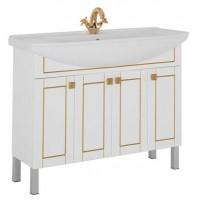 Тумба напольная с раковиной для ванной комнаты Aquanet Честер 105 белый/золото 00186389