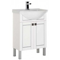 Тумба напольная с раковиной для ванной комнаты Aquanet Честер 60 белый/серебро 00187122