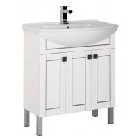 Тумба напольная с раковиной для ванной комнаты Aquanet Честер 75 белый/серебро 00187126
