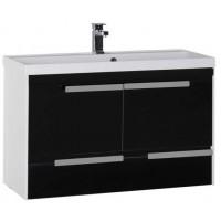 Тумба с раковиной для ванной комнаты Aquanet Тиволи 100 см черный 00180067