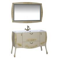 Комплект мебели (зеркало с подсветкой+тумба с раковиной) Aquanet Виктория 120 для ванной комнаты олива 00183678