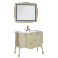 Комплект мебели (зеркало с подсветкой+тумба с раковиной) Aquanet Виктория 90 для ванной комнаты олива 00183679