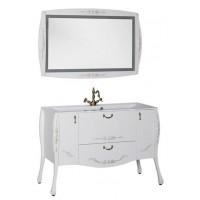 Комплект мебели (зеркало с подсветкой+тумба с раковиной) Aquanet Виктория 120 для ванной комнаты белый/золото 00184412