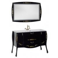 Комплект мебели (зеркало с подсветкой+тумба с раковиной) Aquanet Виктория 120 для ванной комнаты черный/золото 00184414