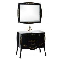 Комплект мебели (зеркало с подсветкой+тумба с раковиной) Aquanet Виктория 90 для ванной комнаты черный/золото 00184415