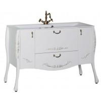Тумба с раковиной (комплект) напольная для ванной комнаты Aquanet Виктория 120 белый/золото 00183929-c