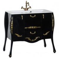 Тумба под раковину напольная для ванной комнаты Aquanet Виктория 90 черный/золото 00183932