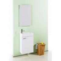 Комплект мебели (тумба с раковиной+зеркало) Aqwella Мастер Бокс Леон для ванной комнаты белый, (Mb-L.00.04)