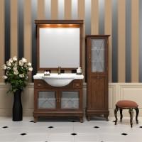 Комплект мебели (тумба с раковиной+зеркало с подсветкой) Opadiris Борджи 95 для ванной комнаты светлый орех