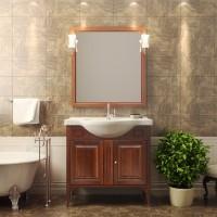 Комплект мебели (тумба напольная с раковиной + зеркало с подсветкой) Opadiris Глория 85 для ванной комнаты светлый орех