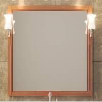 Зеркало с подсветкой Opadiris Глория 85 для ванной комнаты светлый орех