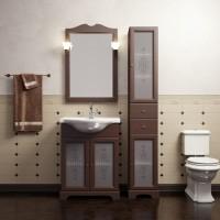 Комплект мебели (тумба с раковиной+ зеркало с подсветкой) для ванной комнаты Opadiris Кама 65 орех антикварный/слоновая кость