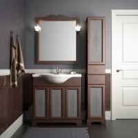 Комплект мебели (тумба с раковиной+ зеркало с подсветкой) для ванной комнаты Opadiris Кама 85 орех антикварный/слоновая кость