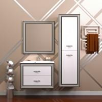 Комплект мебели (тумба подвесная с раковиной + зеркало с подсветкой) Opadiris Карат 100 для ванной комнаты белый с серебром