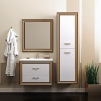 Комплект мебели (тумба подвесная с раковиной + зеркало с подсветкой) Opadiris Карат 80 для ванной комнаты белый с золотом