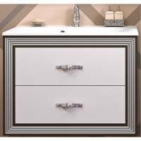 Тумба подвесная с раковиной Opadiris Карат 80 для ванной комнаты белый с серебром