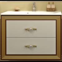 Тумба подвесная с раковиной Opadiris Карат 80 для ванной комнаты белый с золотом