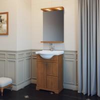 Комплект мебели (тумба с раковиной+ зеркало с подсветкой) для ванной комнаты Opadiris Карла 55 орех антикварный/орех итальянский