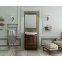 Комплект мебели (тумба с раковиной+ зеркало с подсветкой) для ванной комнаты Opadiris Карла 65 орех антикварный/орех итальянский
