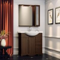 Комплект мебели (тумба с раковиной+ зеркало с подсветкой) для ванной комнаты Opadiris Карла 75 орех антикварный/орех итальянский