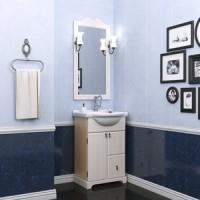 Комплект мебели (тумба подвесная с раковиной + зеркало с подсветкой) Opadiris Клио 50 для ванной комнаты белый