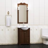 Комплект мебели (тумба подвесная с раковиной + зеркало с подсветкой) Opadiris Клио 50 для ванной комнаты орех антикварный